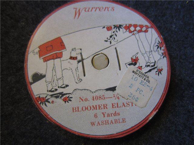 Vintage Warrens Bloomer Elastic  Cents Each Oconner Moffatt Co Price Sticker Sewing Notions