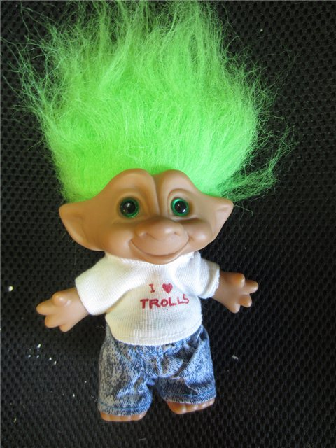 Vintage I Heart Trolls Ace Novelty Co Green Haired Troll With Acid