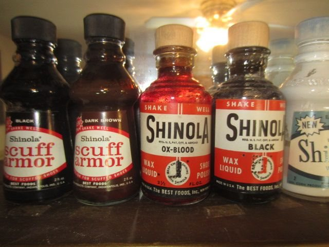 www.50bbb.com_Vintage SHINOLA OX-Blood wax Liquid Shoe Polish Cleaner Bottle Box Best Foods Corn ...