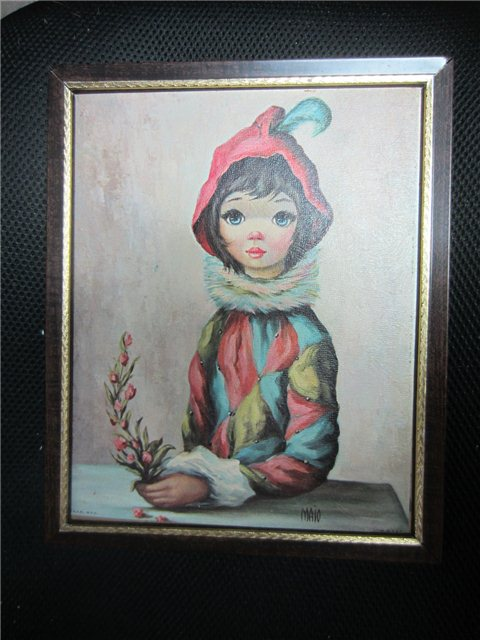 Vintage 1960s Maio Big Eye Harlequin Mardi Gras Girl Clown