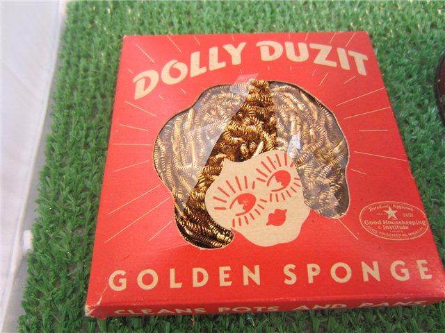 Vintage dolly duzit golden sponge metal dish cloth pot