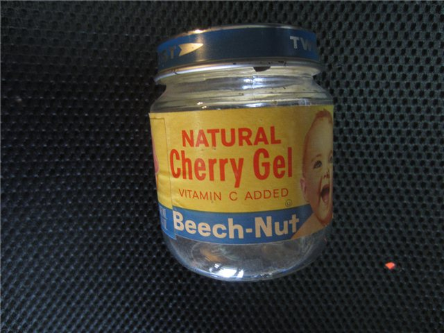 Vintage Beech Nut Natural Cherry Gel Baby Food Glass Jar