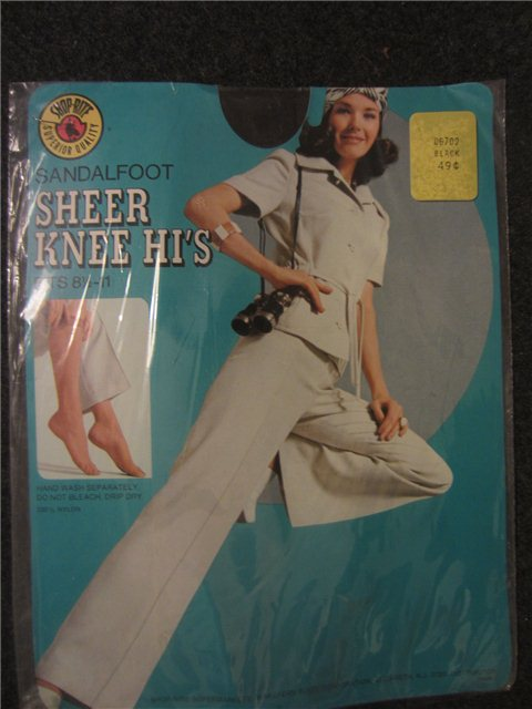 23818ac9d Vintage SHOP-RITE SANDALFOOT SHEER KNEE HI S FITS 8.5-11 Kitschy