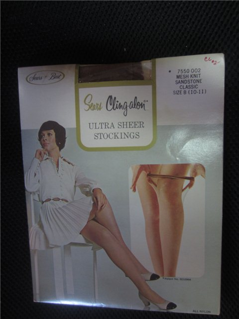 103615d34 Vintage Sears Cling-alon Ultra Sheer Stockings Size B mesh knit sandstone  kitschy ad.  15.00.  15.00